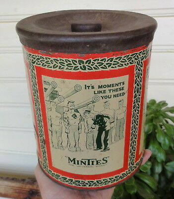 "ABSOLUTE CLASSIC WW2 MINTIES 8"" HIGH TIN in GC.  WW2 CARTOONS ++ Made by HUGHES."