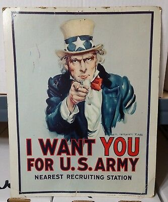 Vintage 1968 Uncle Sam Poster Original I Want You 11 x 14 Military Sign US Army