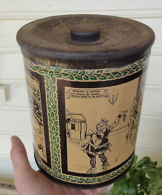 "ABSOLUTE CLASSIC OLD MINTIES 8"" HIGH TIN in GC. 1940 CARTOONS ++ Made by HUGHES."