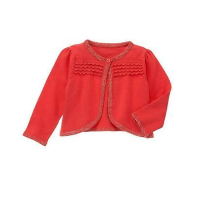 NWT Gymboree Forest Sprouts Baby Girls Coral Scallop Cardigan Sweater 0-3 M