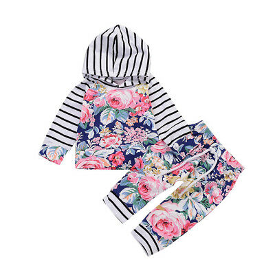 NEW Baby Girls Floral Hooded Sweater Long Sleeve Shirt Pants Outfit Set