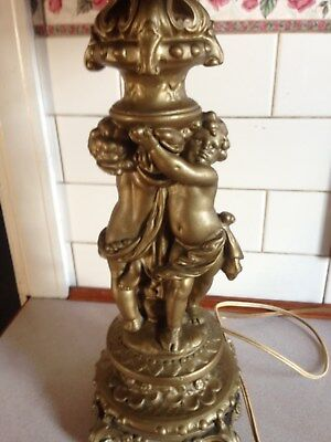 Antique Chalk Ware / Plaster Cherub Gold  Lamp