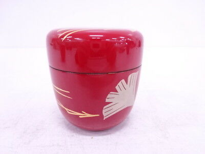 12695# Japanese Tea Ceremony Red Lacquered Tea Caddy / Natsume