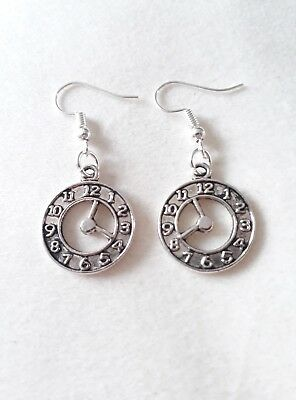 """Handmade """"hands of time"""" clock face pair of earrings (""""antique silver"""")"""