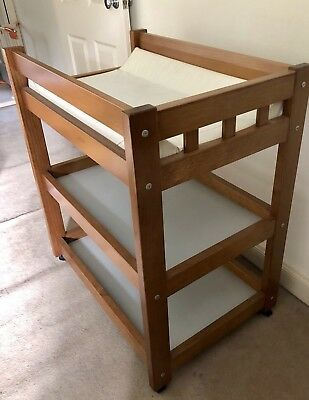 Solid Timber Baby Change Table With Change Mat & 2 Shelf Storage