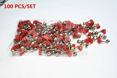 100pc Plastic Clip Double Rod Bite Alarm Fishing Bells Ring Fishing Tackle Tools