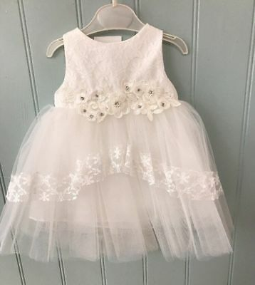 Ivory christening dress gown 6-9-12-18-24 months 1-2 years flowers netting new