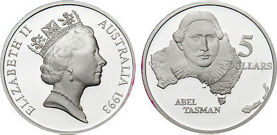 1993 Australia Abel Tasman $5 Silver Coin 1.2 Oz From Masterpieces Set