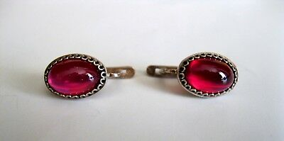 Awesome STONES Vintage Earrings Silver RARE 875 USSR Antique