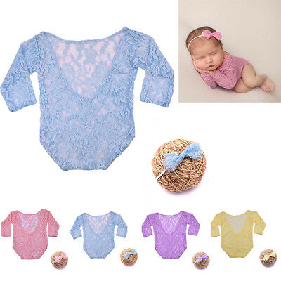 Set Cute Fashion Baby Headband Photo Sleeve Kids Lace Newborn Clothes Long Girl
