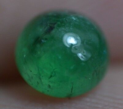 0.75 Ct 100% Natural Green Zambian Emerald Cabo AGSL Certified Round Gem Stone