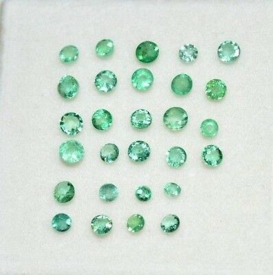 100% Natural Green Colombian Emerald 28 Pcs Loose Gem Stone Lot Round 2.15 Ct