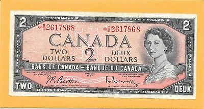 1954* Replacement Note Canadian 2 Dollar Bill *b/b2617868 (Circulated)