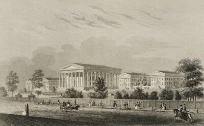 Girard College for Orphans in Philadelphia, USA, um 1840, Stahlstich