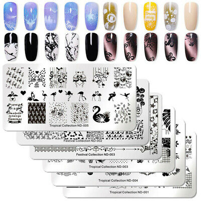 NICOLE DIARY Nail Art Stamping Plates Fantastic Tropical Geometry Image Plate