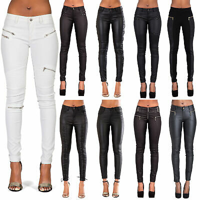 c4a8ed73867ad Womens Leather Trousers Black Wet Look Leggings Ladies Jeans Slim Fit Size  8-14