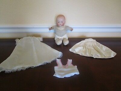 """Antique German Bisque Baby Doll AM 341 with frog body, 10"""""""