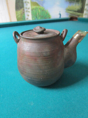 Japanese Teapot And Plate Jindo Of Bizen Hand Crafted Pottery Signed