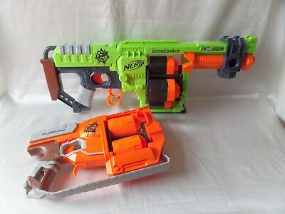 Nerf Zombie Strike Bundle Large Doominator Blaster + Flip Fury Great Lot L@@k!!