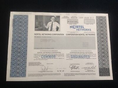 Rare- Nortel Networks Stock Certificate-Hard To Find! Nice Condition!