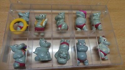Happy Hippos 1988 Satz Figuren mit Ring + rosa Brille