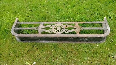 Cast Iron and Brass Antique Fire Fender, Metal Detailing, Good Condition, 115x30
