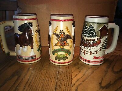 1980s Budweiser Bud light Beer Stein Mugs Clydesdales limited edition lot of 6