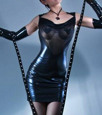 Latex Look Sexy Black Dress See Through Sheer Front Panel Open Back to Waist