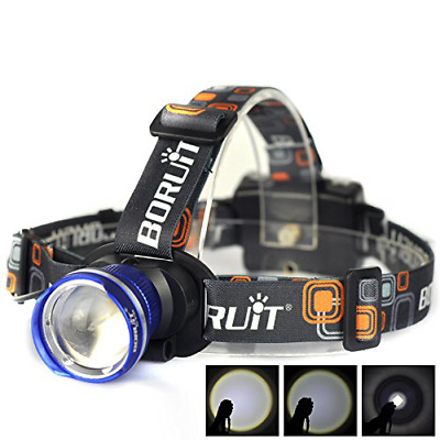 Adjustable Beam Headlamps T6 LED 1800Lm Zoom Headlight Flashlight Head Lamp