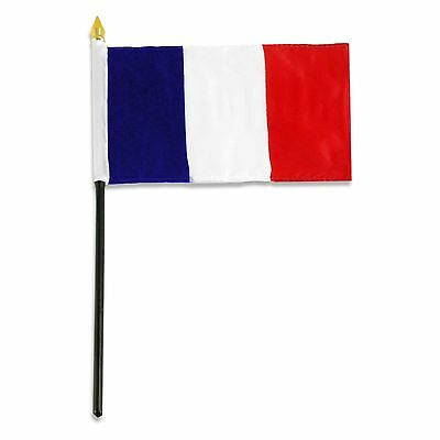 """3 Polyester French 4x6"""" Hand Desk Table Planter Plastic Stick Flags"""