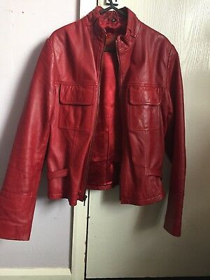 Red Leather Ladies Jacket Size 14