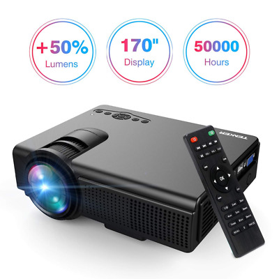 """Projector, Lumens 170"""" Display LED Full HD Video, Compatible 1080P HDMI NEW US"""