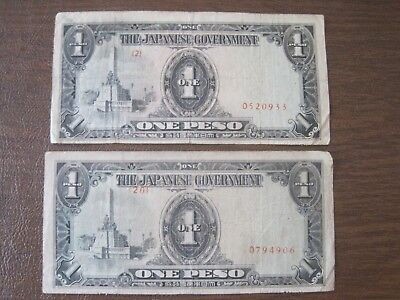 Lot of Two Japanese WW II One Peso Bills (Used)