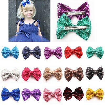 Lovely Baby Girl Kids Sequin Hairpin Handmade Hair Bow Tie Hair Clip Accessories