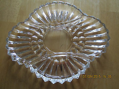 Vintage Heavy Clear Pressed Glass 3 Part Divided Relish Tray / Plate / Dish