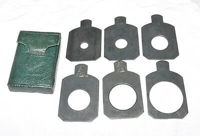 Small 35mm x 27mm Waterhouse Stop Set In Pouch For Vintage Plate Camera
