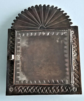 Mexican Tin Nicho Shadow Box, frame, vintage style with fan