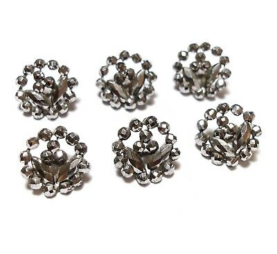 Beautiful Collection Of Antique Georgian Cut Steel Buttons Floral Flowers (B11)