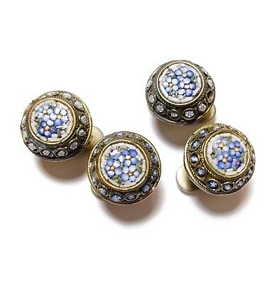 Beautiful Collection Of Antique Victorian Or Edwardian Micro Mosaic Studs (B12)