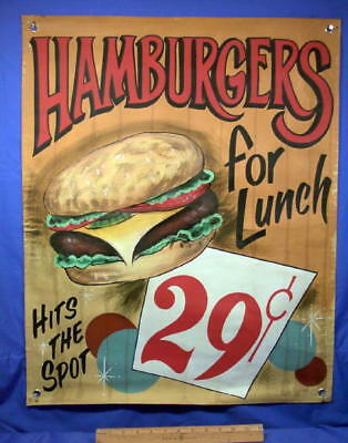Advertising Canvas Sign  Hamburgers ~ 29¢  Illustrated Heavy Canvas Banner