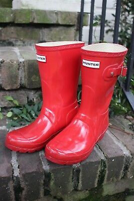 Hunter RED SHINY Short Boots KIDS Girls 5
