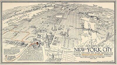 Pictorial Aerial View of New York City Historic Wall Art Poster Genealogy Print