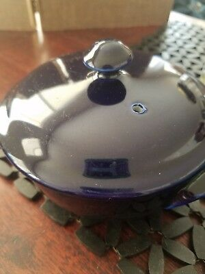 Hall Pottery China Cobalt Blue Baking Dish Crock Gratin Dish with Lid