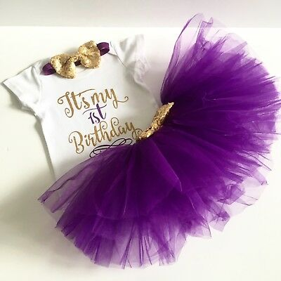 Baby Girls First 1st birthday outfit Tutu cake smash party headband purple One