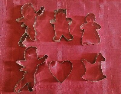 Lot of 6 Metal Cookie or Clay Cutters Heart Cupid Rocking Horse Bear Gingerbread
