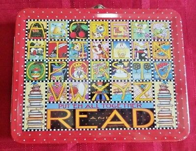 Mary Engelbreit Tin Lunch Box Alphabet READ Red Polka Dot New Shrink Wrapped Tag