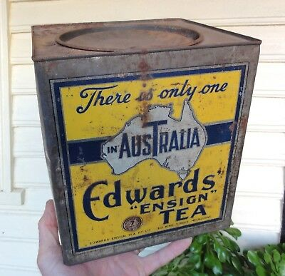 ODD SIZED 7lb EDWARDS ENSIGN TEA in REASONABLE CONDITION. By WILSON BROS.