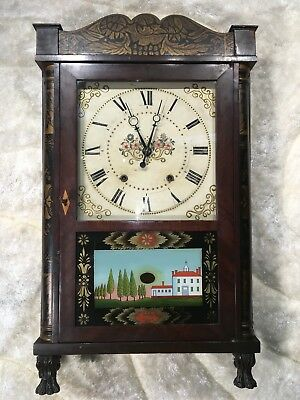 Rare Vtg Antique Usa Eli Terry Conn Wall Pendulum Strikes Clock W Two Weight