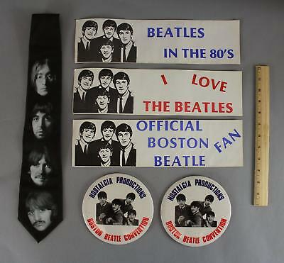 Vintage Beatles Memorabilia Bumper Stickers, Large Pins & Portrait Tie, NR!