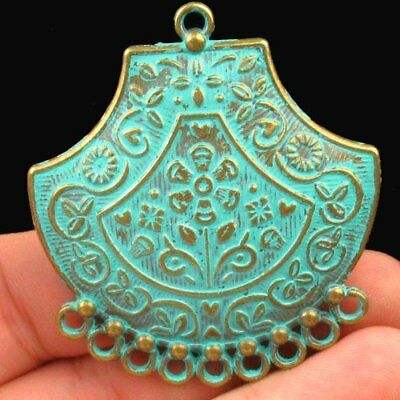 Y40568 Carved Brass Bronze Pendant Bead 50x45x3mm